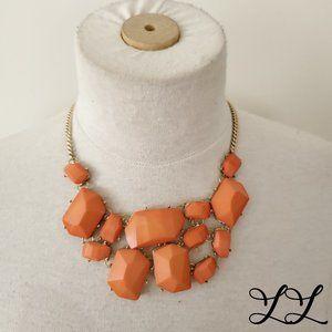Vintage Necklace Orange Stone Gold Chain Statement